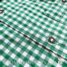 "Load image into Gallery viewer, Horn buttons on authentic Bavarian green chequered shirt ""Manne""-Bavari Shop"