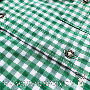 "Horn buttons on authentic Bavarian green chequered shirt ""Manne""-Bavari Shop"