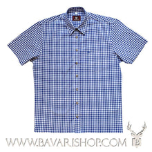"Load image into Gallery viewer, Authentic Bavarian blue chequered shirt, short sleeve ""Benny""-Bavari Shop"