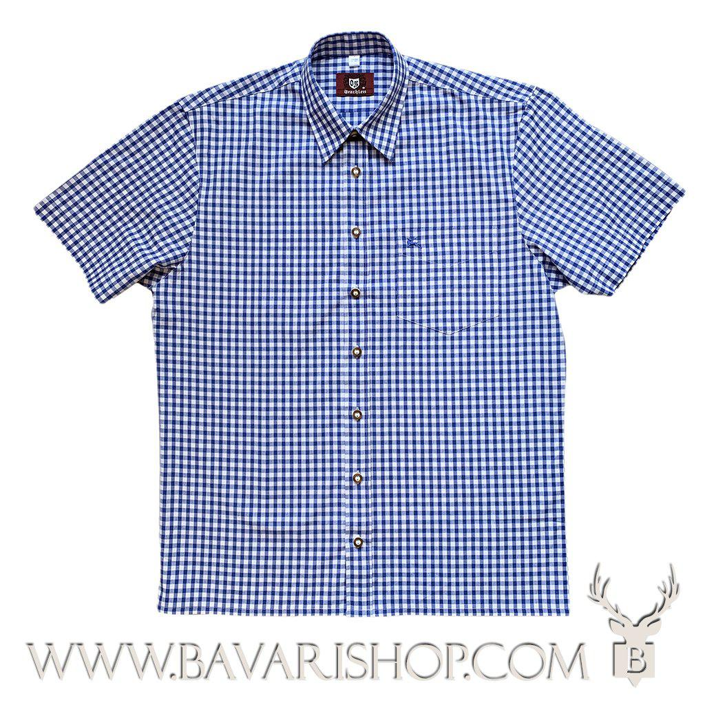 Authentic Bavarian blue chequered shirt, short sleeve