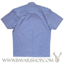 "Load image into Gallery viewer, Back of authentic Bavarian blue chequered shirt, short sleeve ""Benny""-Bavari Shop"