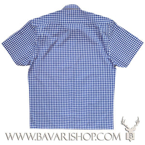 "Back of authentic Bavarian blue chequered shirt, short sleeve ""Benny""-Bavari Shop"