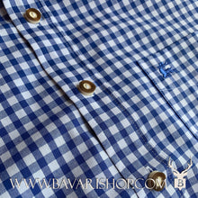 "Load image into Gallery viewer, Horn buttons on authentic Bavarian blue chequered shirt, short sleeve ""Benny""-Bavari Shop"