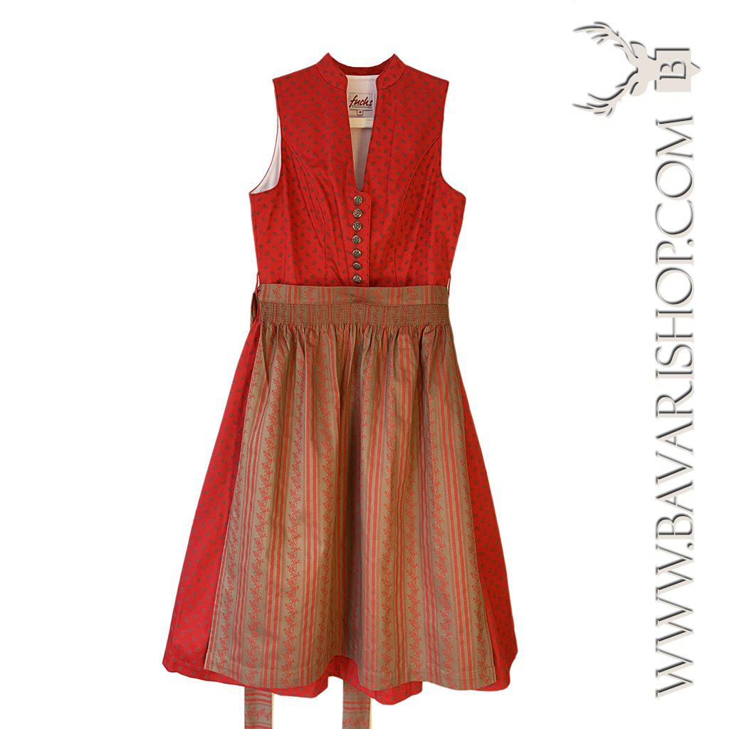 Authentic Bavarian red and sand brown Midi Dirndl