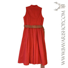"Load image into Gallery viewer, Back of authentic Bavarian red and sand brown Midi Dirndl ""Clarissa""-Bavari Shop"