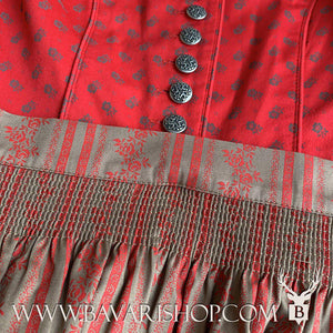 "Authentic Bavarian red and sand brown Midi Dirndl ""Clarissa"" with red floral stripes on sand-brown apron -Bavari Shop"