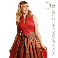 "Load image into Gallery viewer, Blond lady in authentic Bavarian red and sand brown Midi Dirndl ""Clarissa""-Bavari Shop"