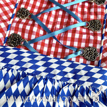 "Load image into Gallery viewer, Blue checkered apron of Bavarian themed statement Midi Dirndl ""Bavaria""-Bavari Shop"