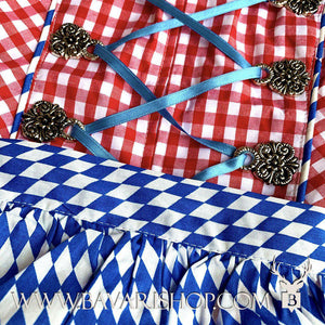 "Blue checkered apron of Bavarian themed statement Midi Dirndl ""Bavaria""-Bavari Shop"