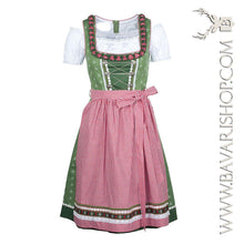 "Load image into Gallery viewer, Authentic Bavarian Midi Dirndl ""Claudia"" in green with red checkered apron -Bavari Shop"