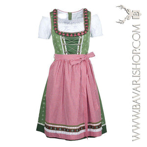 "Authentic Bavarian Midi Dirndl ""Claudia"" in green with red checkered apron -Bavari Shop"