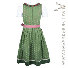 "Load image into Gallery viewer, Back of authentic Bavarian Midi Dirndl ""Claudia"" in green with red checkered apron -Bavari Shop"