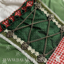 "Load image into Gallery viewer, Chained corsage of authentic Bavarian Midi Dirndl ""Claudia"" in green with red checkered apron -Bavari Shop"
