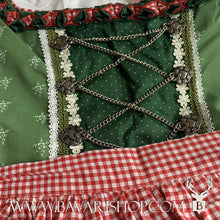 "Load image into Gallery viewer, Red checkered apron of authentic Bavarian Midi Dirndl ""Claudia"" -Bavari Shop"