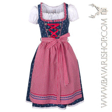 "Load image into Gallery viewer, Authentic Bavarian Midi Dirndl ""Marlene"" in blue with red checkered apron -Bavari Shop"