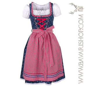 "Authentic Bavarian Midi Dirndl ""Marlene"" in blue with red checkered apron -Bavari Shop"
