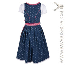 "Load image into Gallery viewer, Back of authentic Bavarian Midi Dirndl ""Marlene"" in blue with red checkered apron -Bavari Shop"