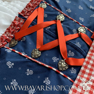 "Laced corsage of authentic Bavarian Midi Dirndl ""Marlene"" in blue with red checkered apron -Bavari Shop"