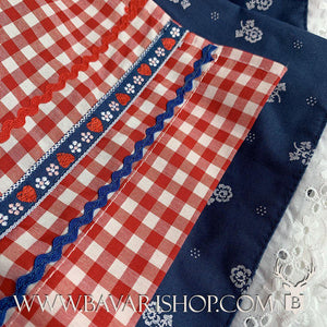 "Embroidered hem on red checkered apron of authentic Bavarian blue Midi Dirndl ""Marlene""-Bavari Shop"