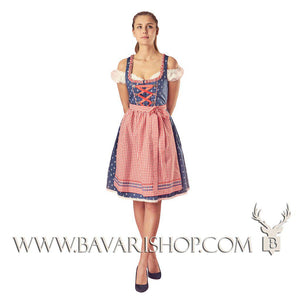 "Girl in authentic Bavarian Midi Dirndl ""Marlene"" in blue with red checkered apron -Bavari Shop"