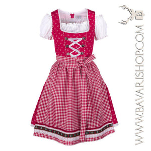 "Authentic Bavarian Midi Dirndl ""Olivia"" candy-red with red checkered apron -Bavari Shop"