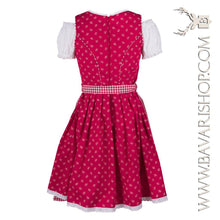 "Load image into Gallery viewer, Back of authentic Bavarian Midi Dirndl ""Olivia"" candy-red with red checkered apron -Bavari Shop"