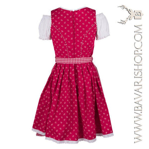 "Back of authentic Bavarian Midi Dirndl ""Olivia"" candy-red with red checkered apron -Bavari Shop"