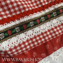 "Load image into Gallery viewer, Enchanting flower embroidery on red checkered apron of authentic Bavarian red Midi Dirndl ""Olivia"" -Bavari Shop"