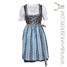 "Load image into Gallery viewer, Authentic Bavarian Midi Dirndl ""Sabia"" in brown with blue floral striped apron -Bavari Shop"