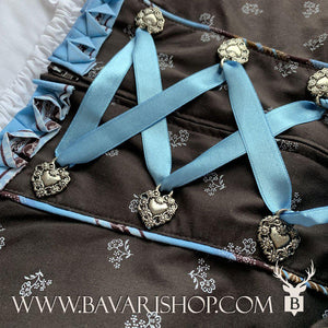 "Corsage with light blue satin lace of authentic Bavarian Midi Dirndl ""Sabia"" in brown with blue floral striped apron -Bavari Shop"