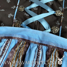 "Load image into Gallery viewer, Light blue, floral striped apron of authentic Bavarian Midi Dirndl ""Sabia"" in brown -Bavari Shop"