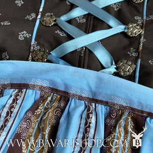 "Light blue, floral striped apron of authentic Bavarian Midi Dirndl ""Sabia"" in brown -Bavari Shop"