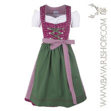 "Load image into Gallery viewer, Authentic Bavarian Midi Dirndl ""Scarlett"" in berry-red with peplum and green apron -Bavari Shop"