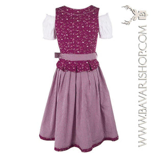 "Back of authentic Bavarian Midi Dirndl ""Scarlett"" in berry-red with peplum and green apron -Bavari Shop"