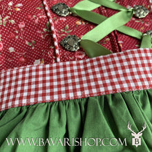 "Load image into Gallery viewer, Green apron with red checkered ribbon on authentic Bavarian Midi Dirndl ""Scarlett"" in berry-red with peplum -Bavari Shop"