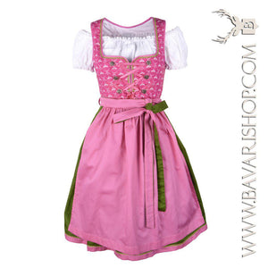 "Authentic Bavarian Midi Dirndl ""Viktoria"" in pink and green -Bavari Shop"