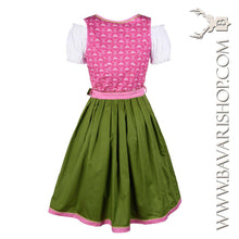 "Load image into Gallery viewer, Back of authentic Bavarian Midi Dirndl ""Viktoria"" in pink and green -Bavari Shop"