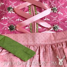 "Load image into Gallery viewer, Pink, dotted apron with green ribbon of authentic Bavarian Midi Dirndl ""Viktoria"" in pink and green -Bavari Shop"