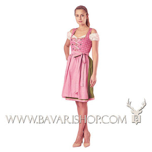 "Girl in authentic Bavarian Midi Dirndl ""Viktoria"" in pink and green -Bavari Shop"