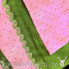 "Load image into Gallery viewer, Details of pink dotted apron and hem of authentic Bavarian Midi Dirndl ""Viktoria"" in pink and green -Bavari Shop"