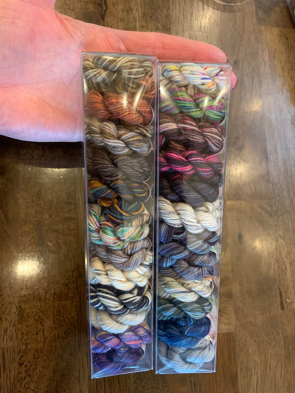 Diagon Alley; Minis set on Charles Merino Fingering Weight Yarn