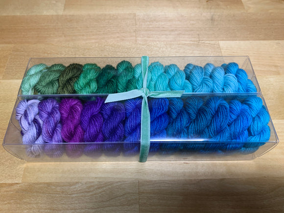 Green to Purple Gradient; Minis set on John Merino Fingering Weight Yarn