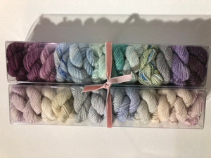 The Great Gatsby; Minis set on Oscar Sparkle Fingering Weight Yarn