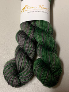 Slytherin Polar Opposites Self-Striping; Bruce Yak Merino Fingering Yarn
