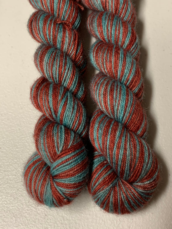 IMPERFECT Dee & Dum 2 Color Self-Striping; Bruce Yak Merino Fingering Yarn