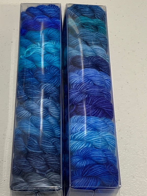Blue, Bleu, Blue (redux); Minis set on Spencer Single Ply Merino Fingering Weight Yarn