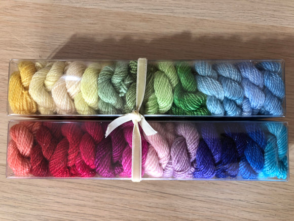 The Queen's Wardrobe; Minis set on Oscar Sparkle Fingering Weight Yarn