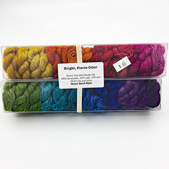 Bright Rainbow Minis; Yak SILK Merino Fingering Weight Yarn