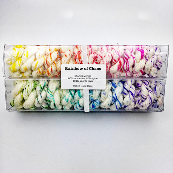 Rainbow of Chaos (Speckles); Minis set on Charles Merino Fingering Weight Yarn