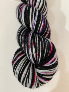 OOAK Speckles 2 Color Stripes Self-Striping; Charles Merino Fingering Yarn